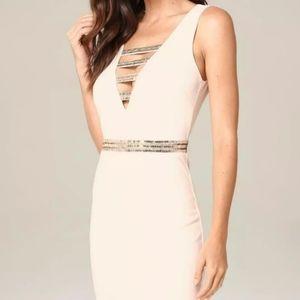 NWT Bebe Harlow Double V-Neck Embellished Dress S